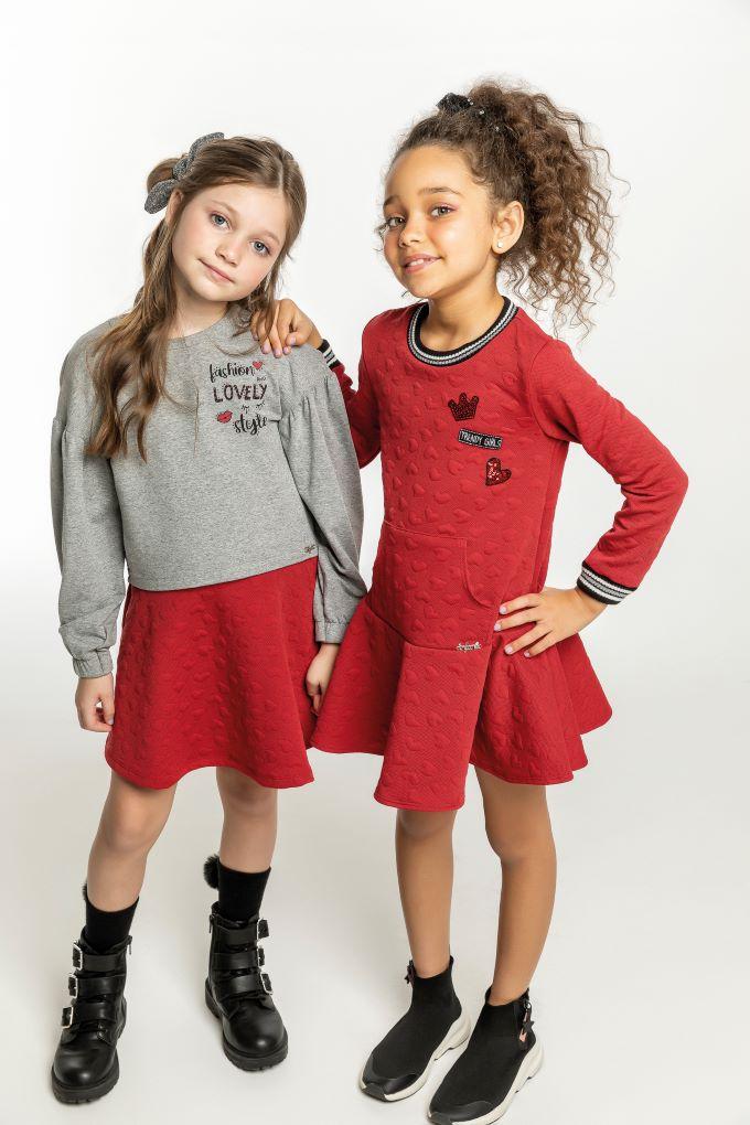 Vestido manga longa vermelho - Tam 08 a 12 anos