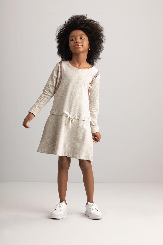 Vestido Mochila em cotton- Tam 6 a 10 anos