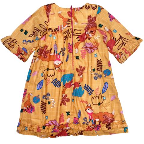 Vestido Mostarda manga 3/4 com estampa colorida de raposa e folhas  - Tam 08 a 12 anos