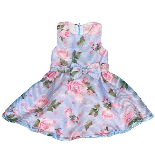 Vestido Organza estampado com Flores em Poliéster - Tam 2 a 4 anos