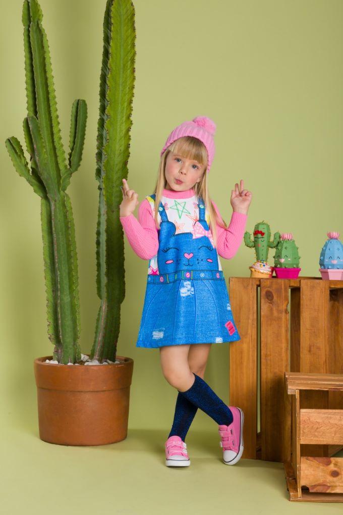 Vestido Regata com estampa de jardineira em Poliéster  - Tam 04 a 08 anos