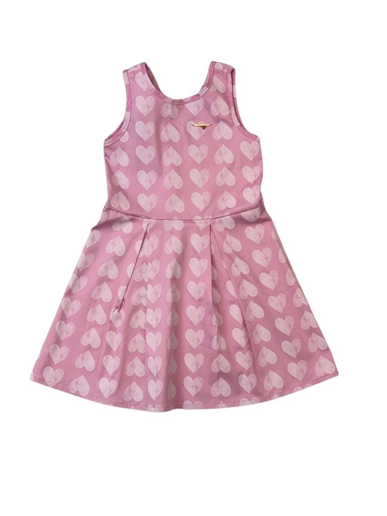 Vestido Rosa com  Corações Brancos em Algodão com Elastano - Tam 04 a 08 Anos