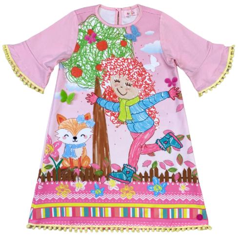Vestido Rosa manga 3/4 com estampa colorida de passeio no bosque - Tam 06 a 10 anos