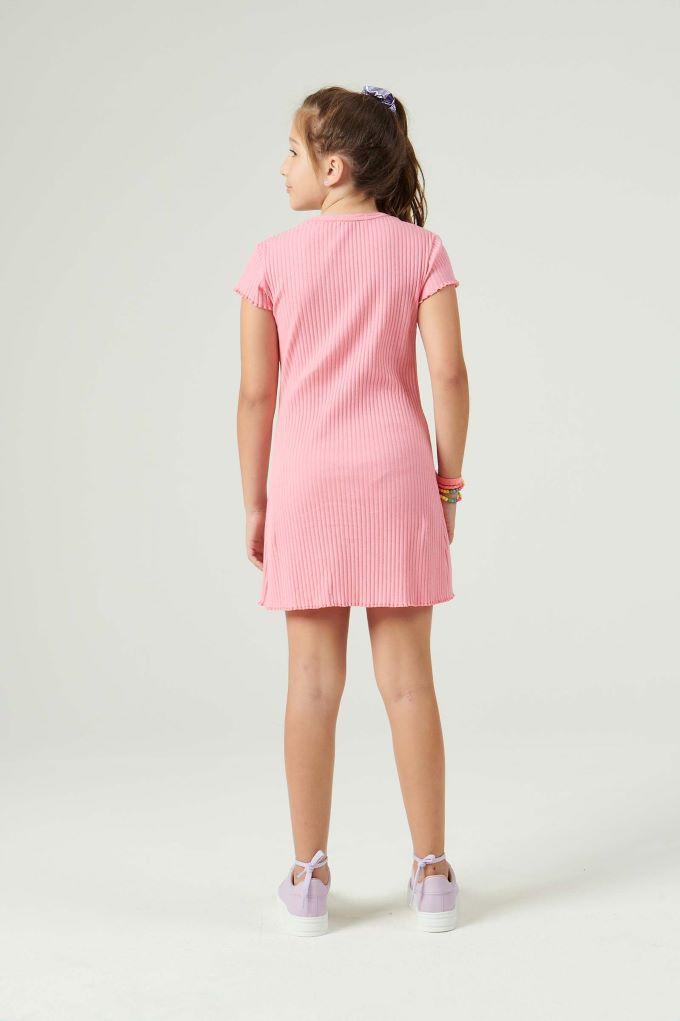 Vestido teen rosa canelado Tam 12 a 16 anos
