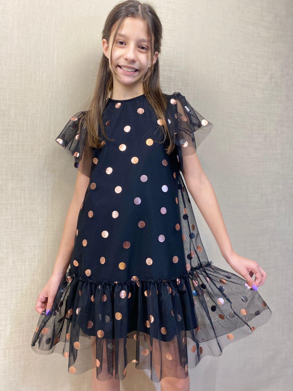 Vestido infantil tule e poá - Tam 06 a 12 anos