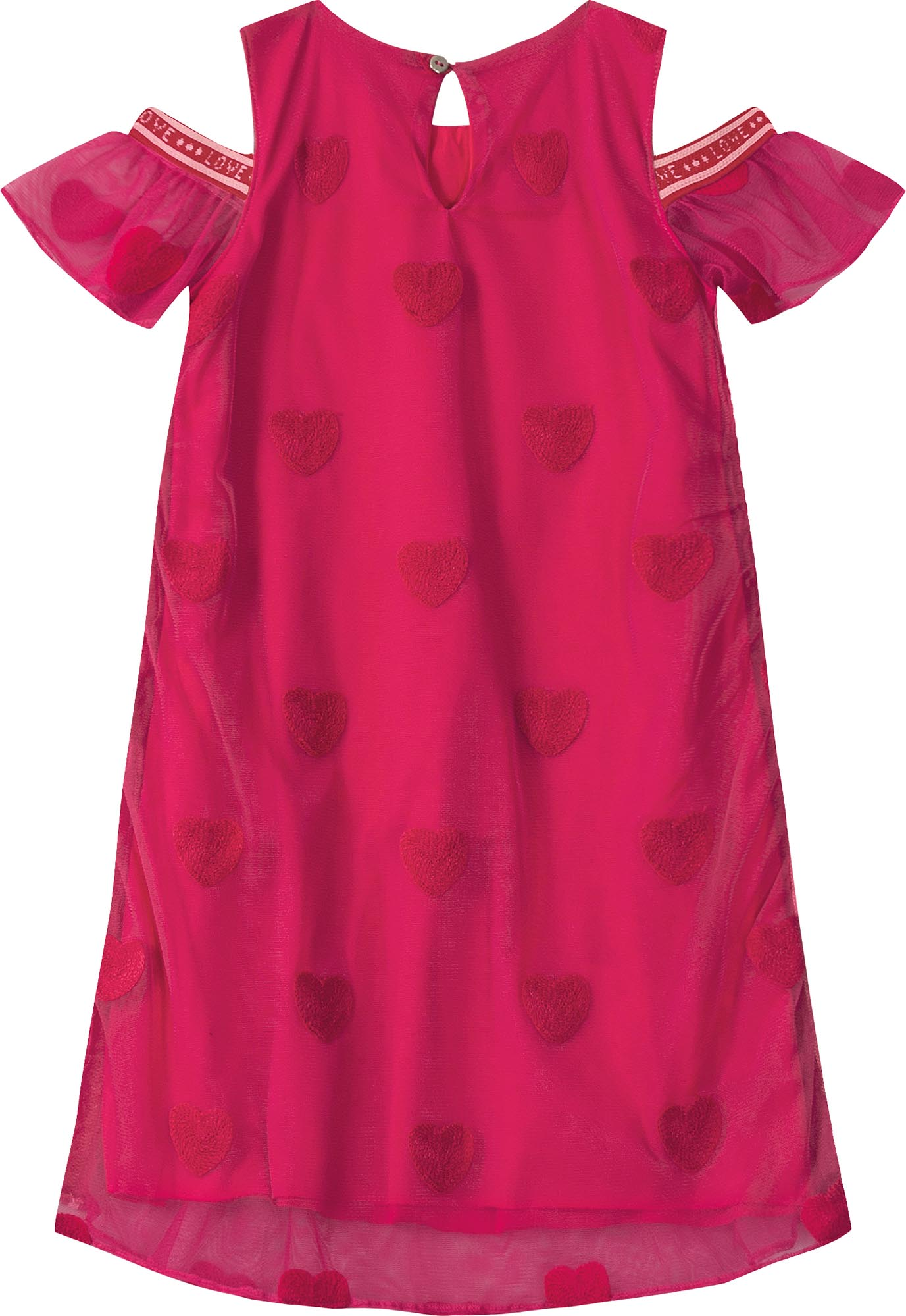 Vestido Tule Rosa Bordado Corações Tam 04 a 10 anos
