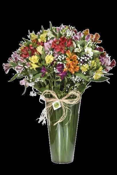 Bouquet Arco-Íris no Acrílico