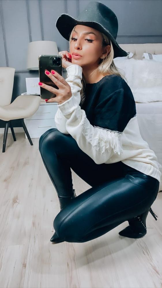 Calça Skinny em cirrê glam com cinto (PRÉ VENDA)