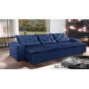 Sofá Eros Retrátil e Reclinável 3,20m Azul