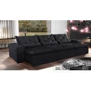 Sofá Eros Retrátil e Reclinável 3,20m Preto