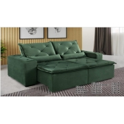 Sofá Omega Retrátil e Reclinável 2,30m - Verde