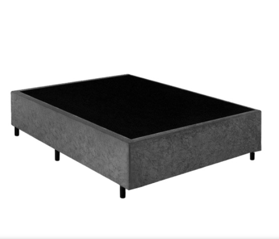 Base Box Casal 1.38x1.88 Sued Cinza
