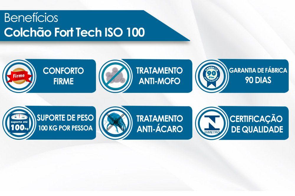 Colchão Ortobom ISO 100 Fort tech Casal - 1,38x1,88x0,18