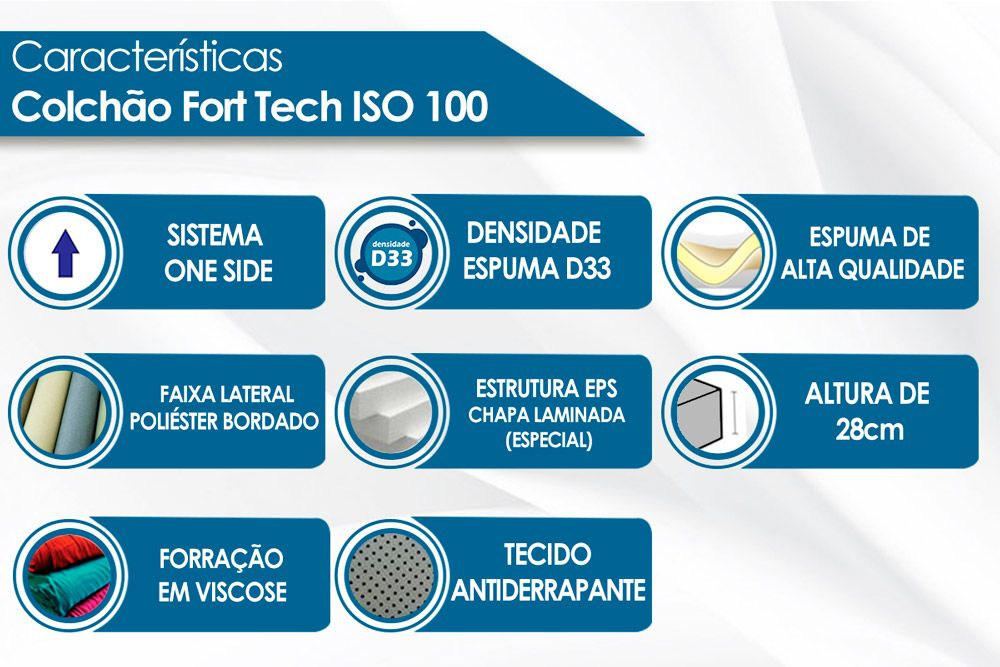 Colchão Ortobom ISO 100 Fort tech Solteiro - 0,88x1,88x0,18