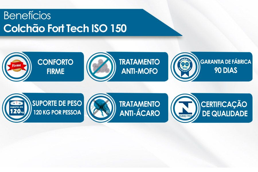 Colchão Ortobom Iso 150 Fort tech Casal  - 1,38x1,88x0,18