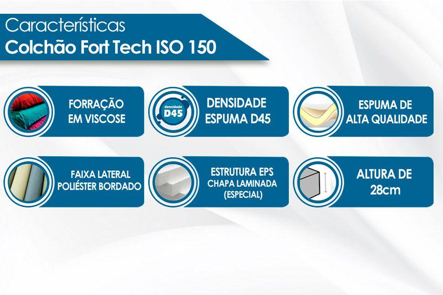 Colchão Ortobom Iso 150 Fort tech Queen Casal  - 1,58x1,88x0,18