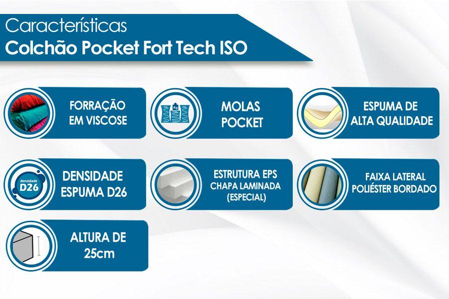 Colchão Ortobom Iso Super pocket, de Molas, Firme Casal - 1,38x1,88x0,25