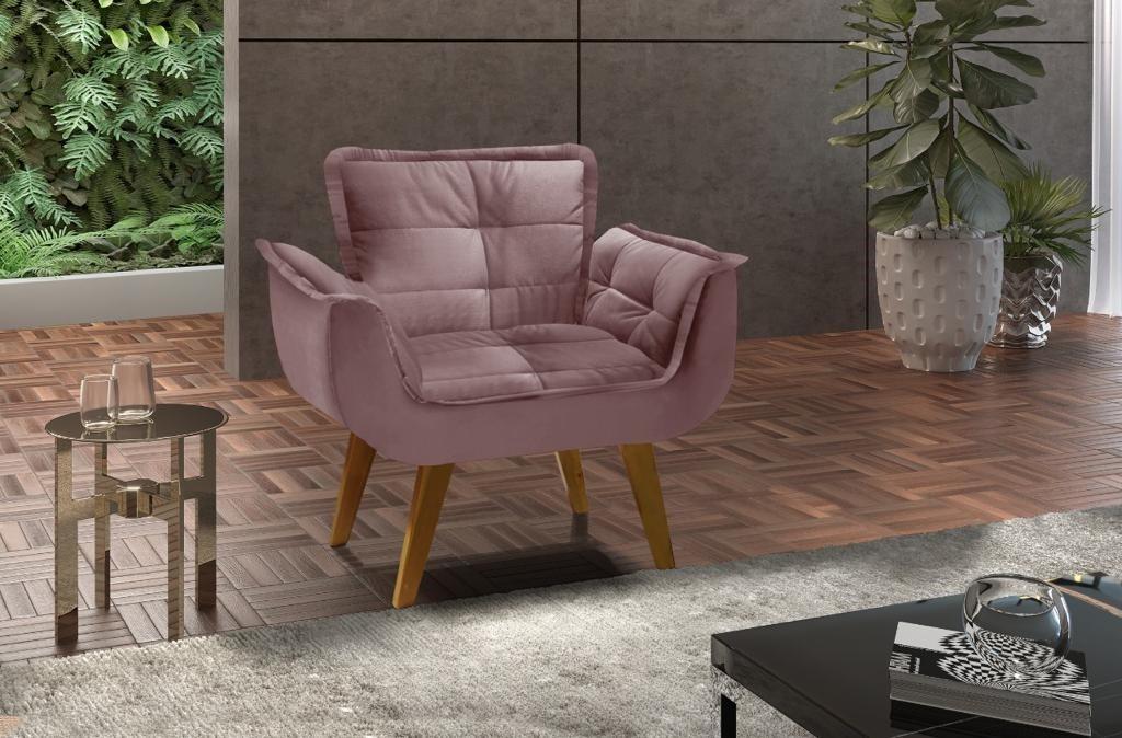 Poltrona decorativa Opala pé palito - ROSE