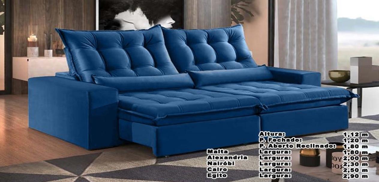 Sofá Cairo Retrátil e Reclinável 2,50m Azul