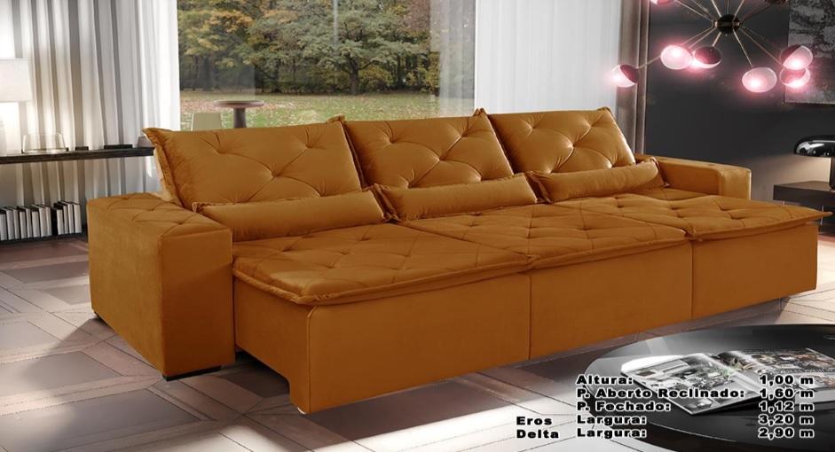 Sofá Eros Retrátil e Reclinável 3,20m Mostarda