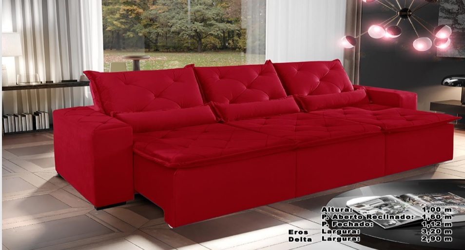 Sofá Eros Retrátil e Reclinável 3,20m Vermelho