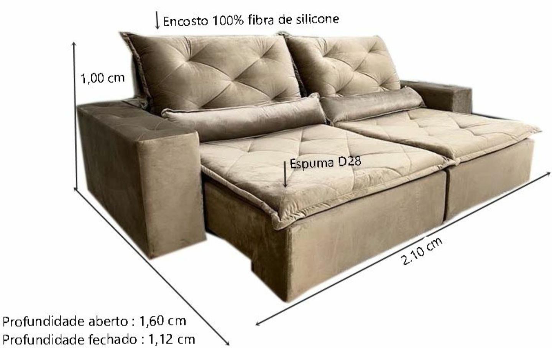 Sofá Esplendor Retrátil e Reclinável 2.10m - Cappuccino