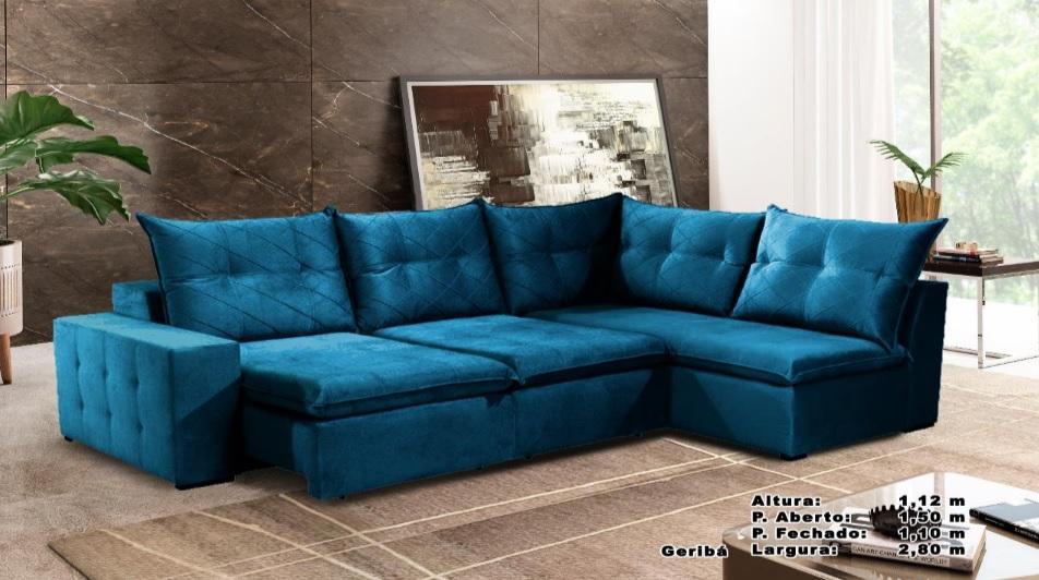 Sofá Geribá Retrátil e Reclinável 2,80m Azul