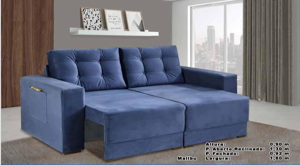 Sofá Malibu Retrátil e Reclinável 1,80m Azul