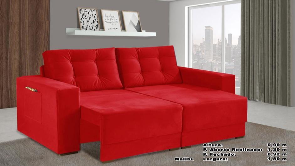Sofá Malibu Retrátil e Reclinável 1,80m Vermelho