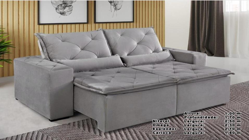 Sofá Omega Retrátil e Reclinável 2,30m - Cinza
