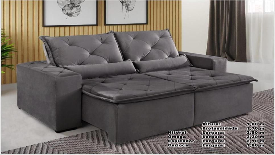 Sofá Omega Retrátil e Reclinável 2,30m - Grafit