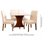 Conjunto Sala de Jantar 4 Cadeiras Lara Tec 302