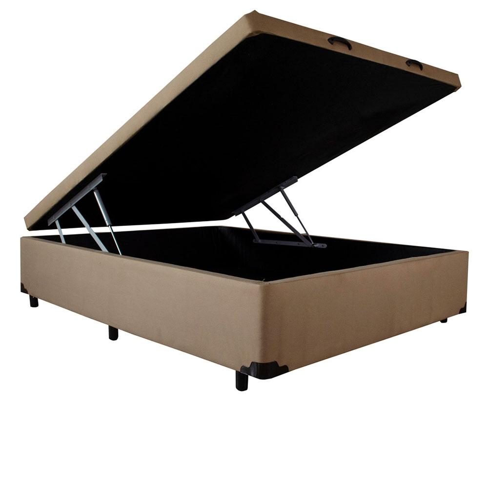 Box Baú Tech Box Casal Linhão Marrom 138x188x26