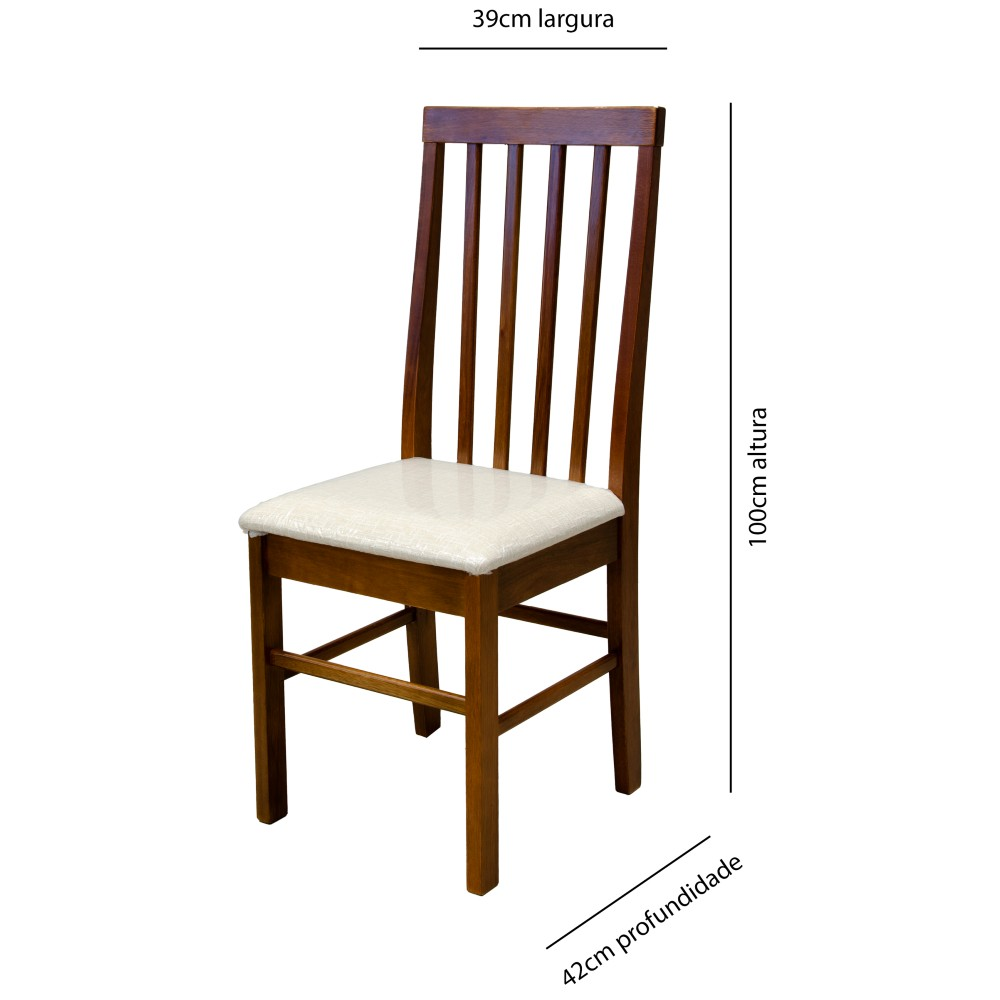 Cadeira Milena Matté Estofado Imbuia / Madeira Maciça
