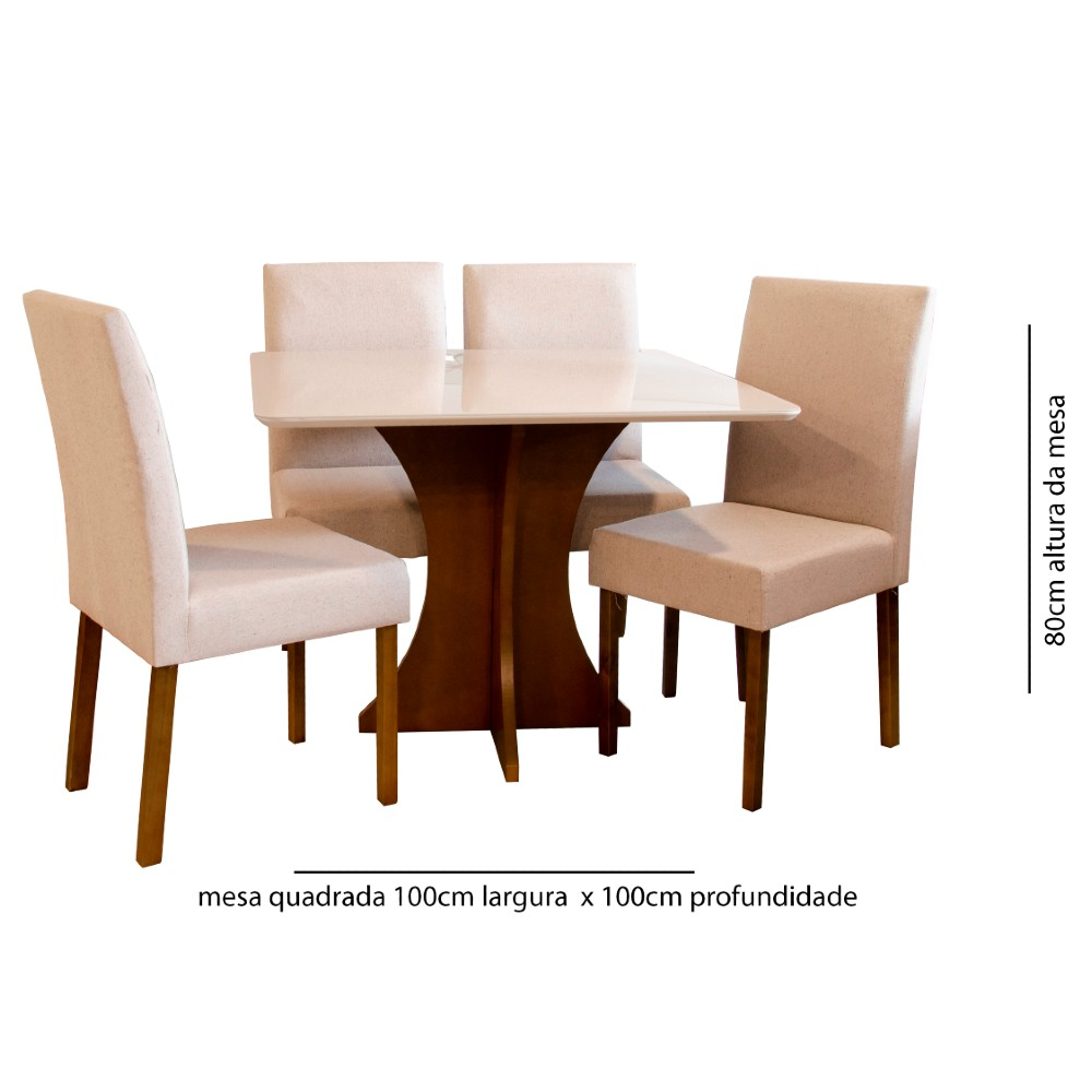 Conjunto Sala de Jantar 4 Cadeiras Lara Tec 301
