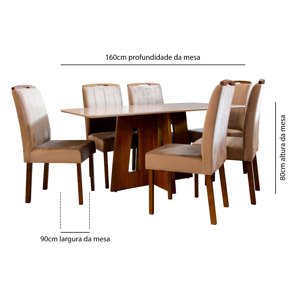 Conjunto Sala de Jantar 6 Cadeiras Priscila Tec 402
