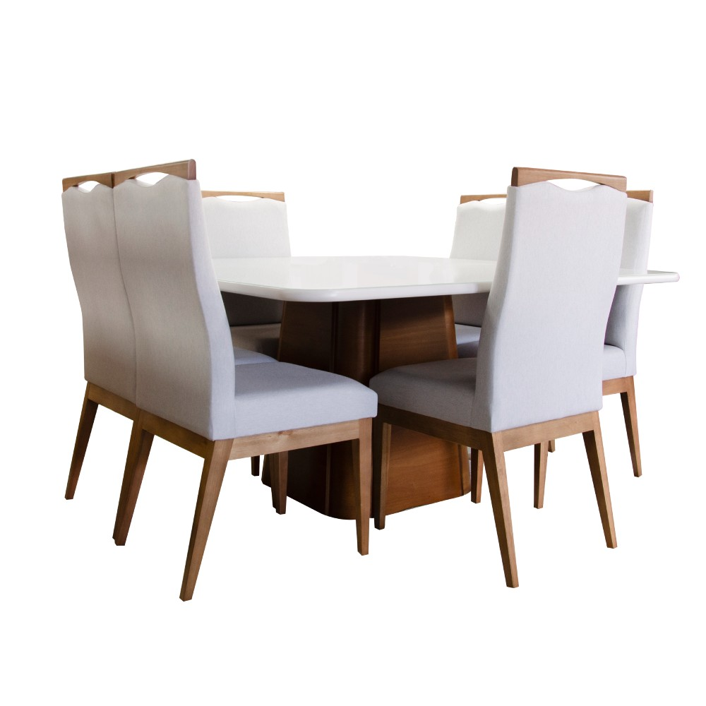 Conjunto Sala De Jantar Nicole 150x150 / 6 Cadeiras Nicole tec 26