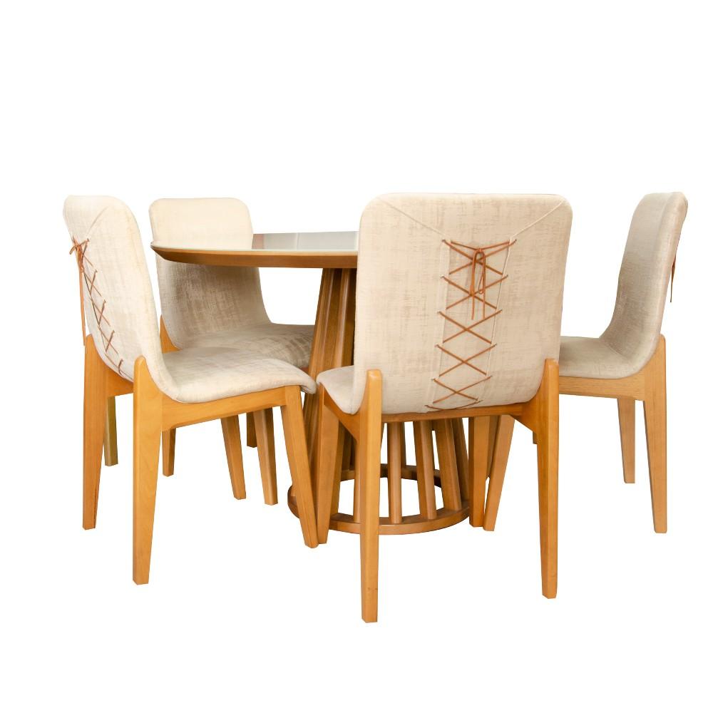 Conjunto Sala de Jantar Oregon 130x130 / 5 Cadeiras Monaco tec 05