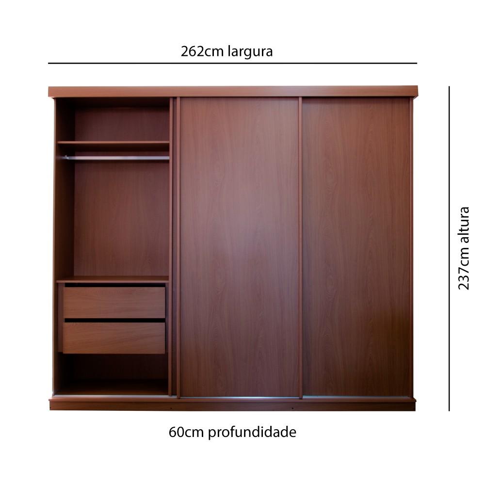 Guarda Roupa Itália Plus Sem Espelho 262x237x60