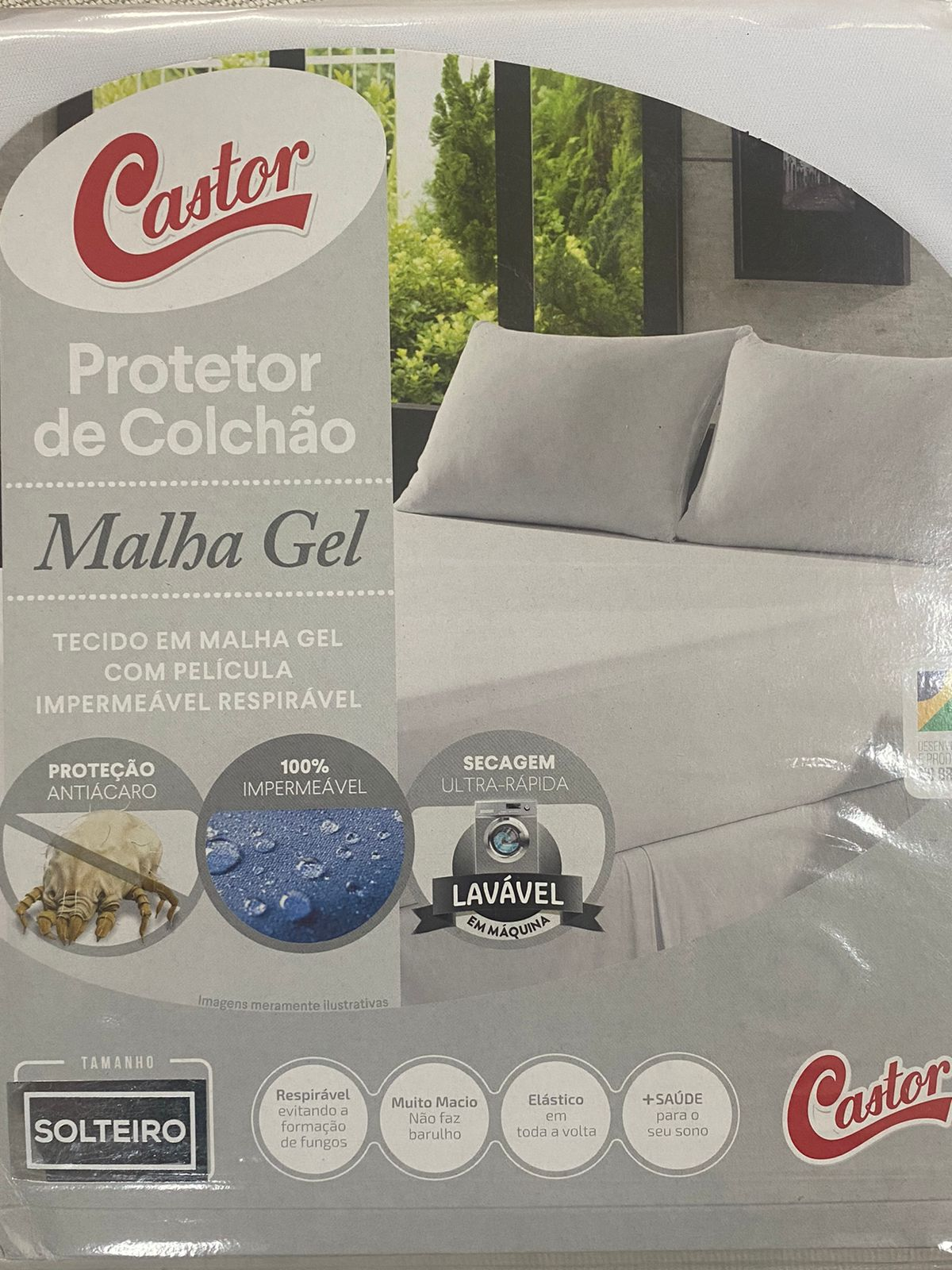 Protetor De Colchão Solteiro Impermeável Malha Gel 90x190x50