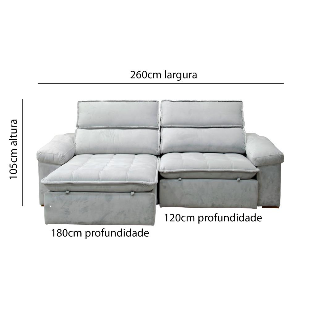 Sofá Merlim Retrátil Cinza 2,60m