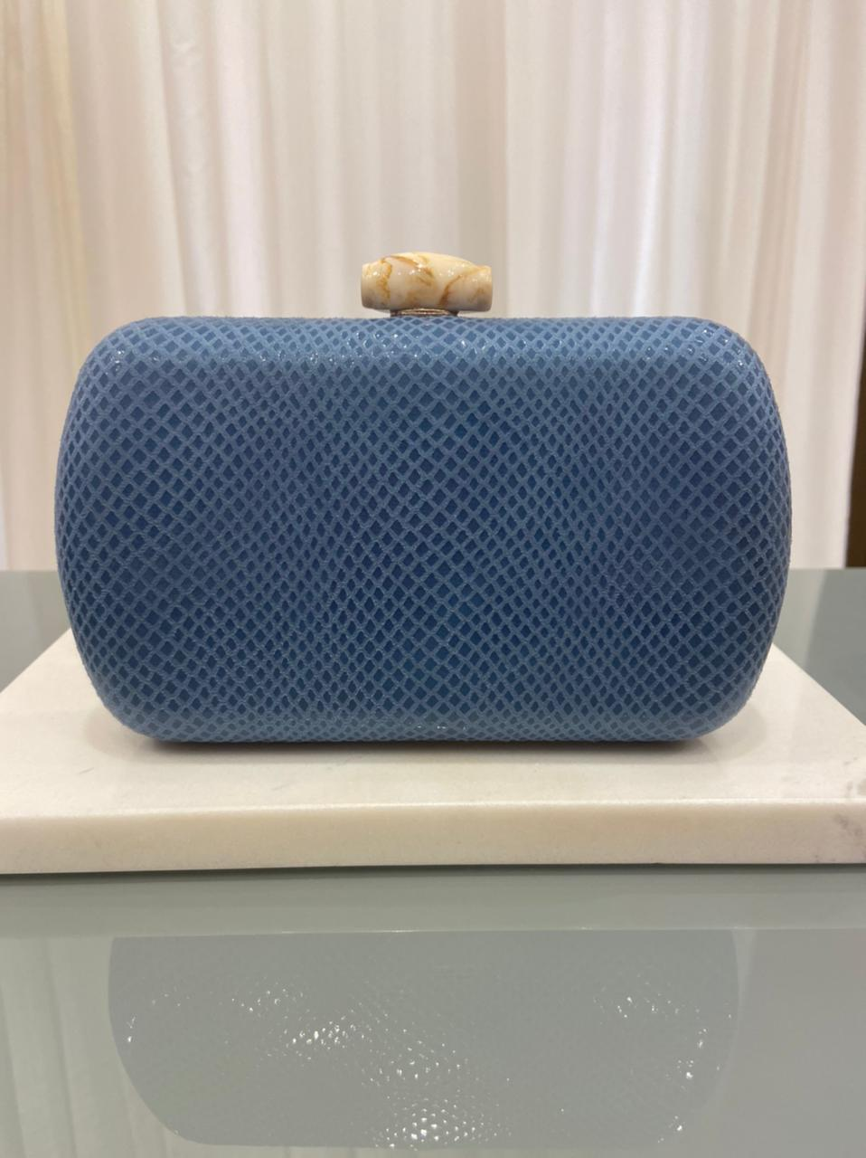 Clutch Croco Azul Marinho