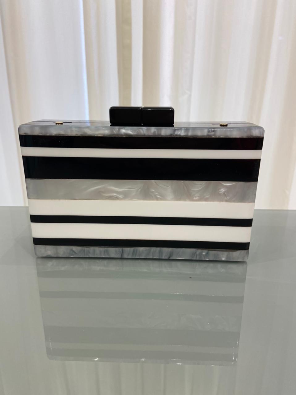 Clutch Stripes Preto e Branco