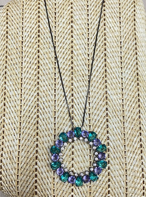 Colar Mandala Lilás e Verde