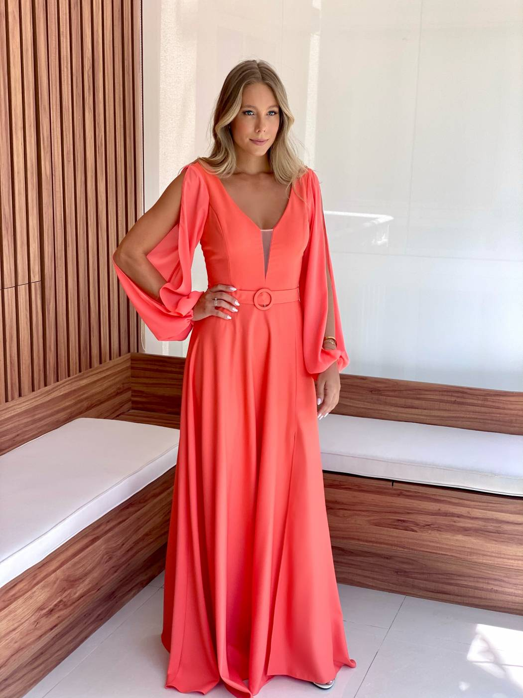 Vestido Albânia Coral