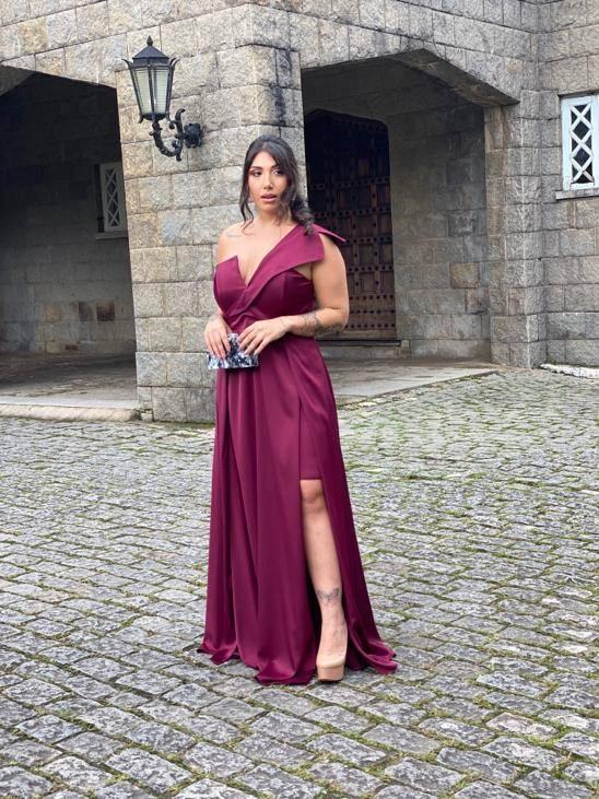 Vestido Andorra Plus Size Marsala