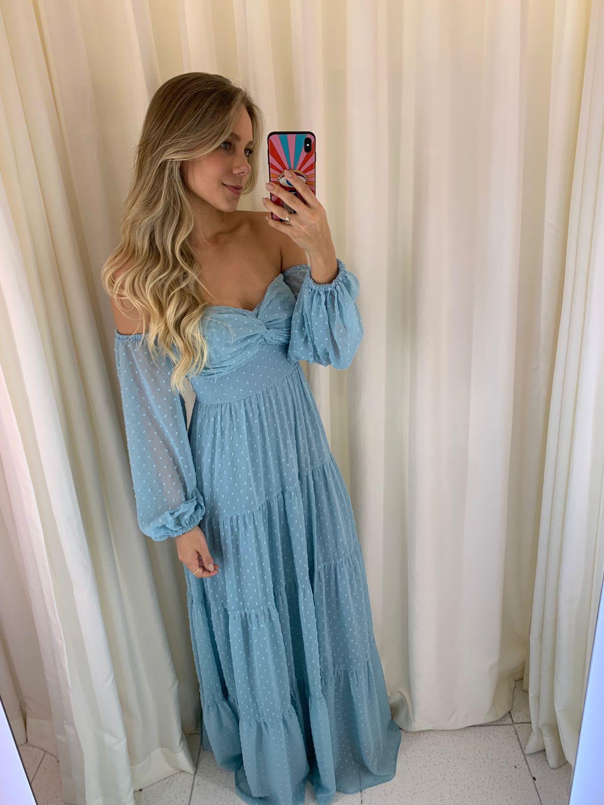 Vestido Austrália Poá Azul Serenity