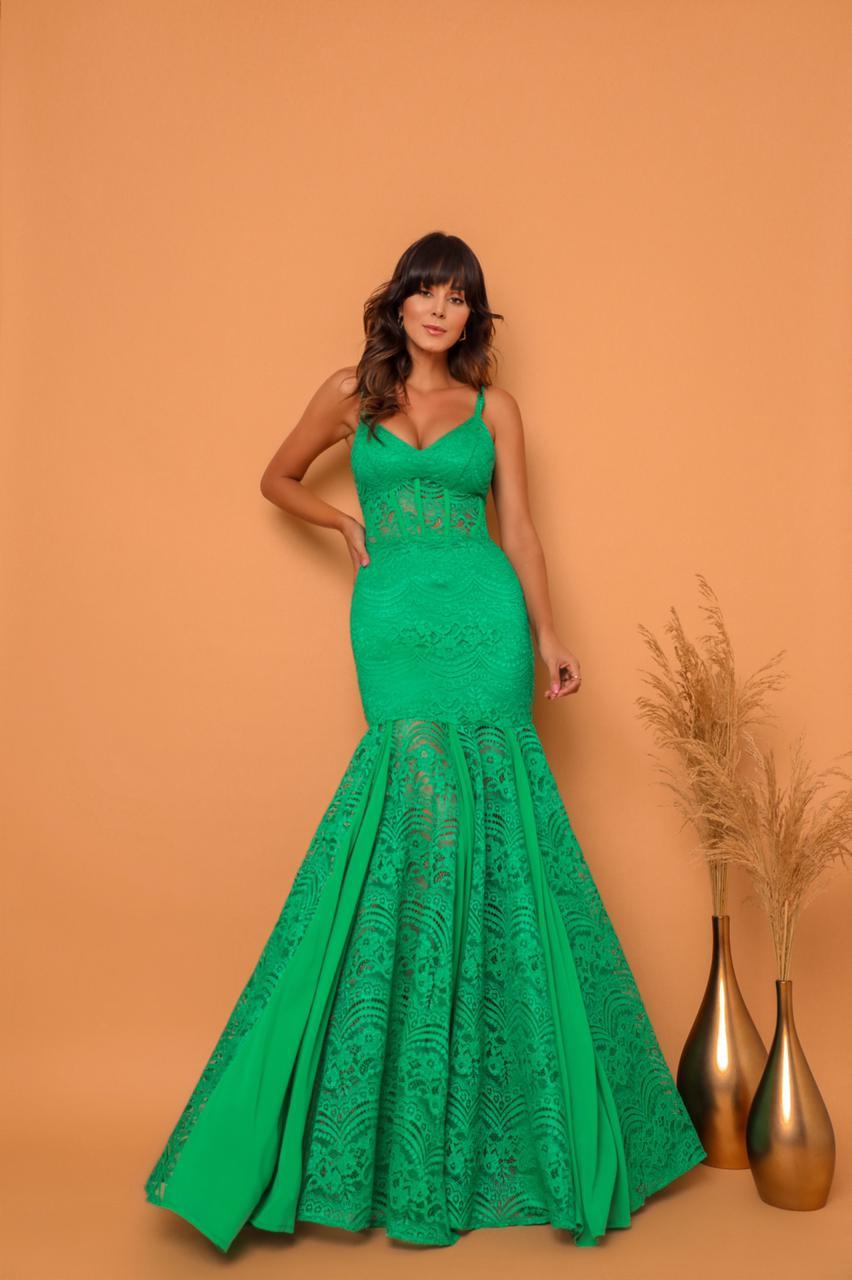 Vestido Balneario Renda Verde