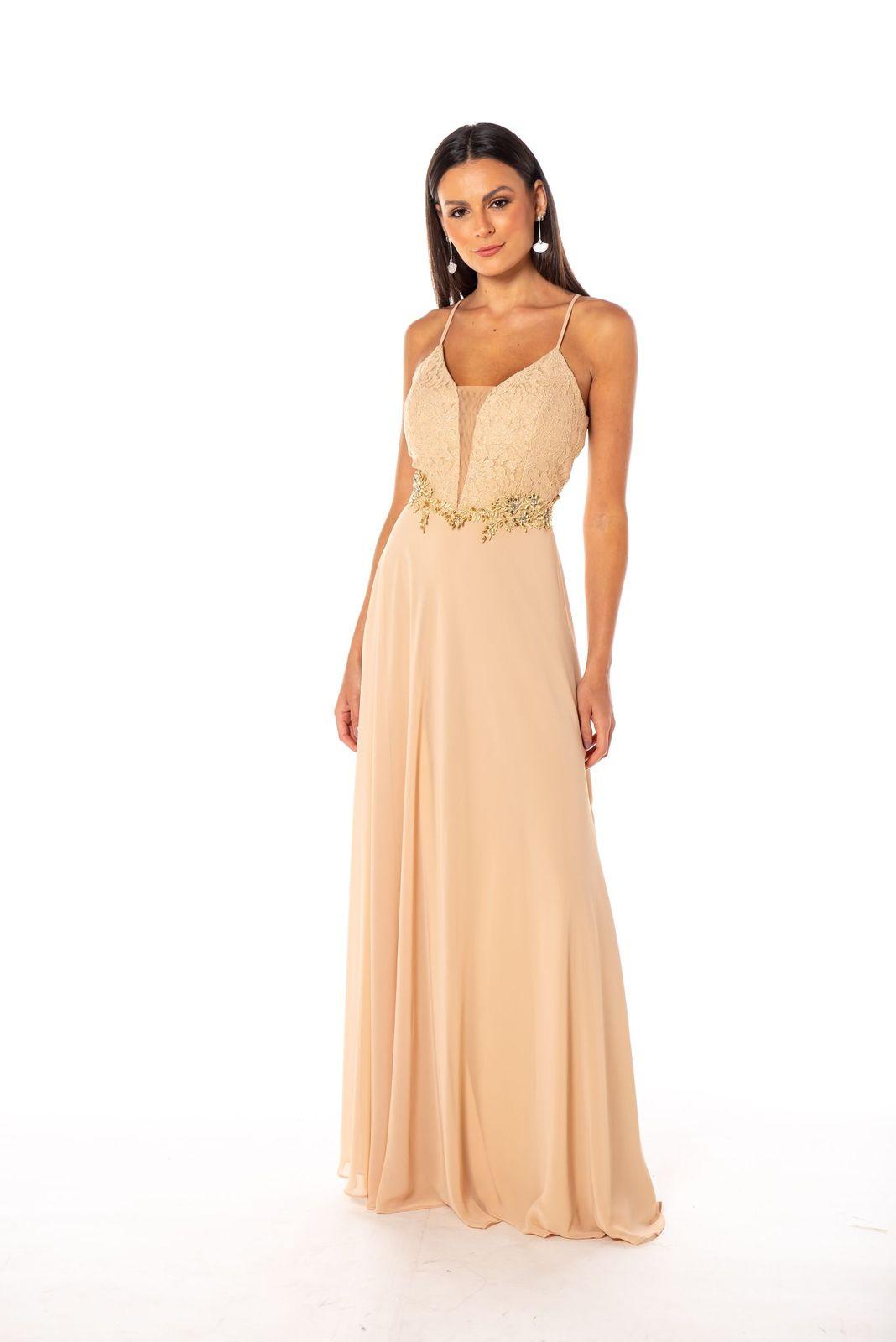 Vestido Campinas Nude Dourado
