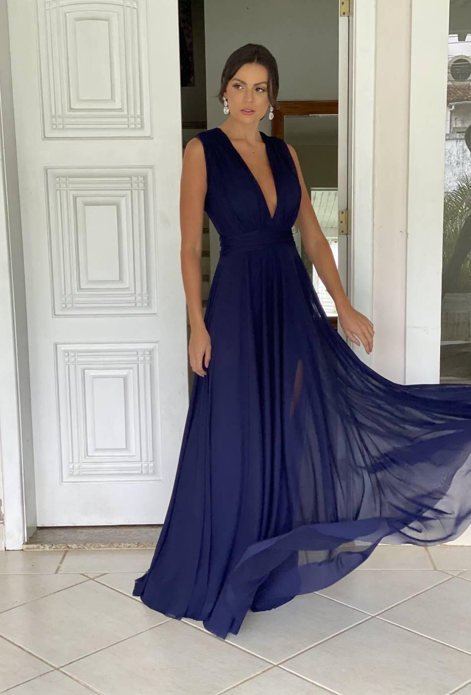 Vestido Cannes Azul Marinho